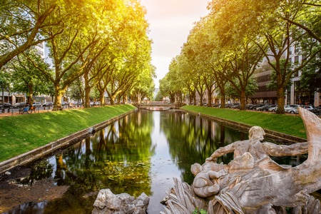 Photo for Water canal in Dusseldorf city - Royalty Free Image