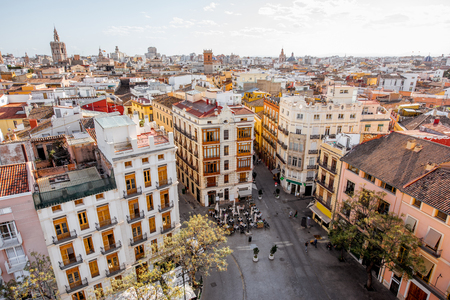 Foto de Aerial cityscape view from Serranos towers on the old town of Valencia city in Spain - Imagen libre de derechos