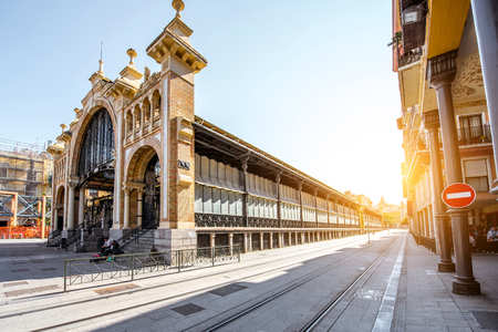 Foto per Street view with central food market building in Zaragoza city in Spain - Immagine Royalty Free