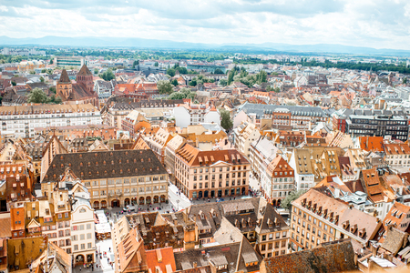 Photo for Aerial cityscape view on the old town with beautiful rooftops in Strasbourg city, France - Royalty Free Image