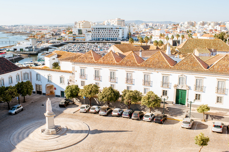 Photo for Top cityscape view on the old town with beautiful rooftops in Faro on the south of Portugal - Royalty Free Image