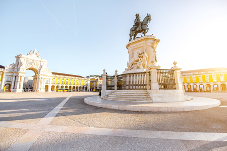 Photo for Morning view on the Commerce square with statue fo king Joseph and Triumphal arch in Lisbon city, Portugal - Royalty Free Image