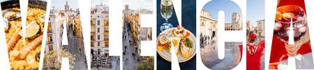 Foto de VALENCIA letters filled with pictures of famous places and cityscapes in Valencia city, Spain - Imagen libre de derechos