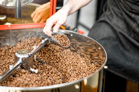 Foto de Getting with scoop roasted coffee beans from the roaster machine to check the quality - Imagen libre de derechos