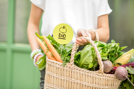 Photo for Holding bag full of fresh organic vegetables with green sticker from the local market on the green background - Royalty Free Image