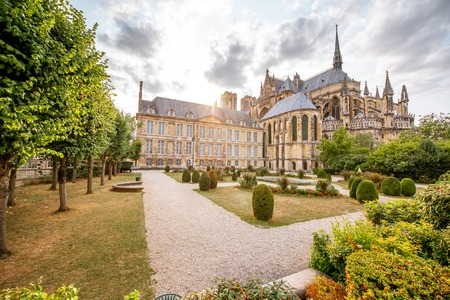Photo for Reims gardens on the backyard of Notre-Dame cathedral in France - Royalty Free Image