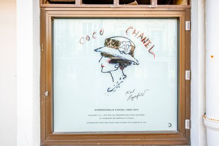 Photo for DEAUVILLE, FRANCE - September 06, 2017: First store front of the famous Coco Chanel located between the casino and the Hotel Normandy in Deauville - Royalty Free Image