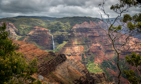 Photo for Waipoo falls in Waimea canyon, Kauai, Hawaii. - Royalty Free Image