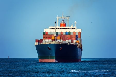 Container cargo ship in ocean