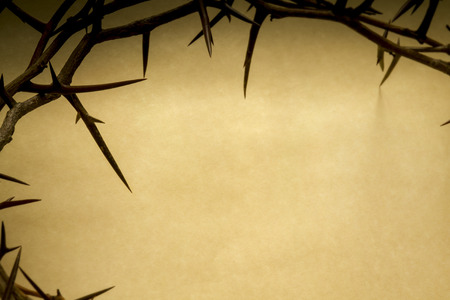 Photo for Crown Of Thorns On Parchment Background Represents Jesus Crucifixion on Good Friday - Royalty Free Image