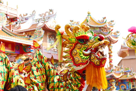 Photo for Chinese dragon and lion dance - Royalty Free Image
