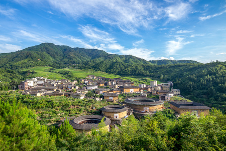 Photo for Aerial view of Chuxi Tulou cluster in fujian, china - Royalty Free Image