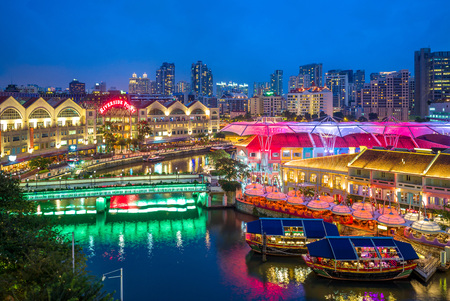 Photo for aerial view of Clarke Quay in singapore at night - Royalty Free Image