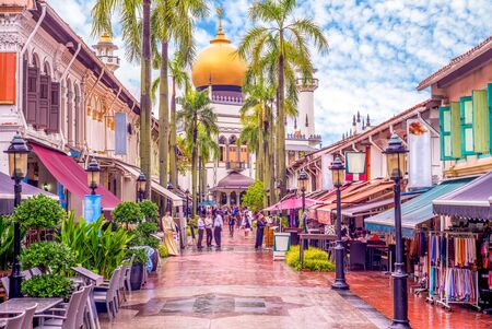 Photo for street view of singapore with Masjid Sultan - Royalty Free Image
