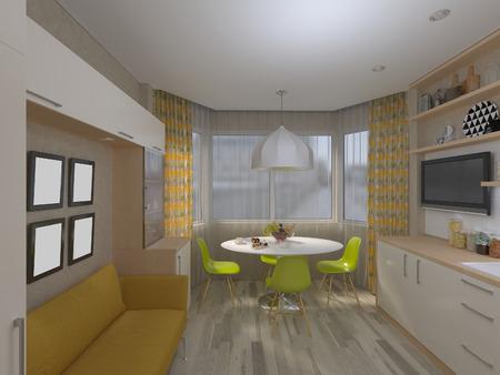 Foto de 3D render of the white kitchen - Imagen libre de derechos