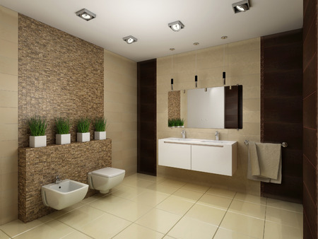 3D render of the bathroom in brown tones