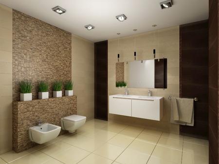 Photo pour 3D render of the bathroom in brown tones - image libre de droit