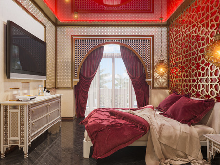 Photo for 3d illustration bedroom interior design of a hotel room in a traditional Islamic style. Beautiful deluxe room Ramdan Kareem background interior view decorated with Islamic motifs. - Royalty Free Image