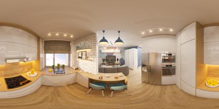Foto de 3d illustration spherical 360 degrees, seamless panorama of living room interior design. Modern studio apartment in the Scandinavian minimalist style - Imagen libre de derechos