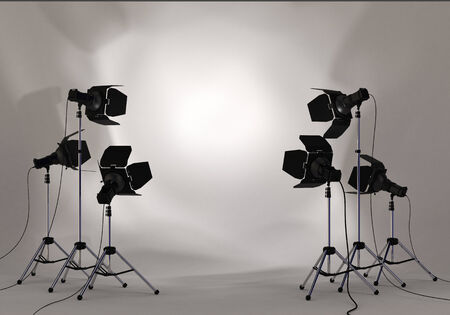 Photo for Studio lighting equipment with copy space of your image or message in a spotlight on white wall environment - Royalty Free Image