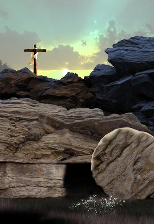 Foto de Cross and Empty Tomb - Imagen libre de derechos