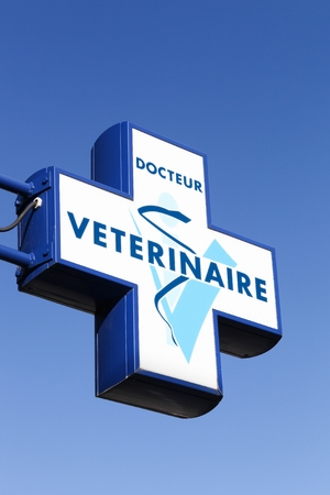 Montelimar, France - November 2, 2018: Veterinary logo on a pole in France
