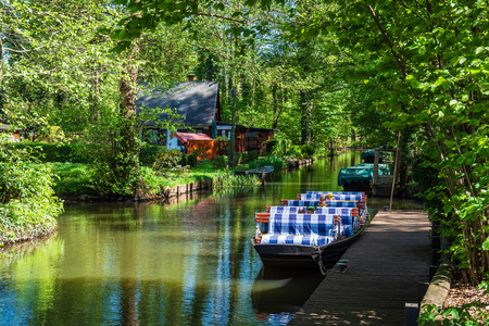 Foto de Landscape with barge in the Spreewald area, Germany. - Imagen libre de derechos