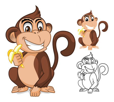 Illustration for High Quality Monkey Holding Banana Cartoon Character Include Flat Design and Outlined Version Vector Illustration - Royalty Free Image