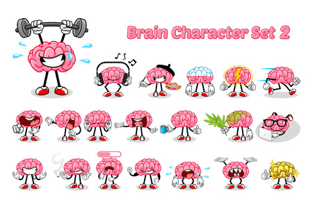 Illustration pour Set of Brain Cartoon Character Two Vector Illustration - image libre de droit