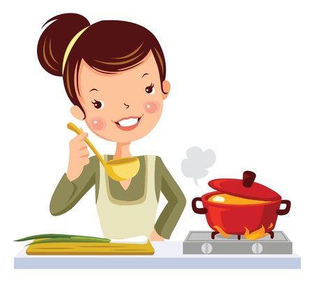 glamour girl in kitchen