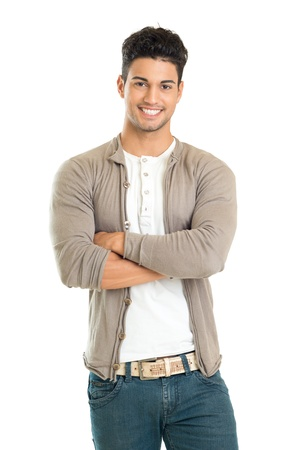 Photo for Casual Young Man Standing With His Arm Crossed Isolated On White Background  - Royalty Free Image