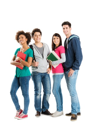Happy Multi Ethnic Students Isolated On White Background