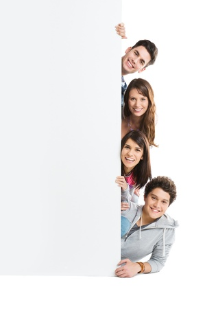 Happy Smiling Group Of Person Isolated Showing Blank Placard Board