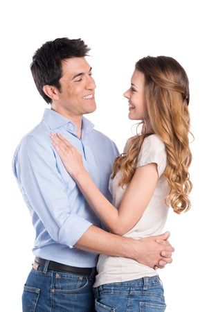Photo pour Happy Young Man Embracing Woman Isolated On White Background - image libre de droit