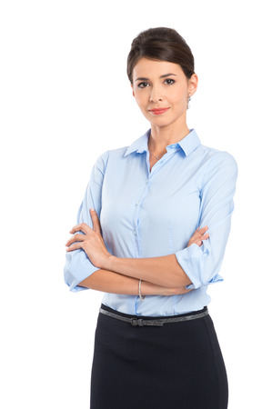 Foto de Young Beautiful Businesswoman With Arm Crossed Isolated Over White Background - Imagen libre de derechos