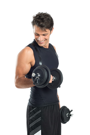 Photo pour Healthy Young Man Exercising With Dumbbells Isolated On White Background - image libre de droit