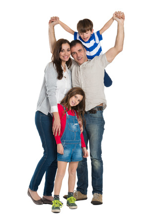Photo pour Portrait Of A Happy Family Isolated On White  - image libre de droit