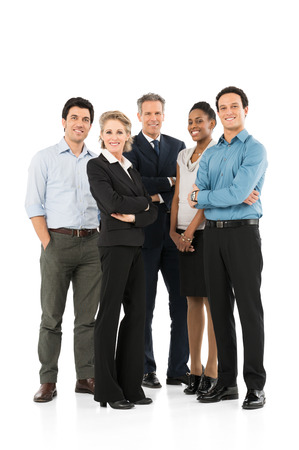 Photo pour Group Of Happy Multi Racial Businesspeople Standing On White Background - image libre de droit