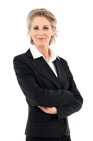 Foto de Portrait Of Happy Mature Businesswoman Looking At Camera Isolated Over White Background - Imagen libre de derechos