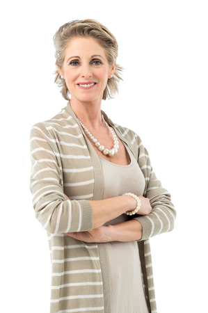 Photo pour Portrait Of Smiling Mature Woman Smiling Looking At Camera Isolated On White Background - image libre de droit