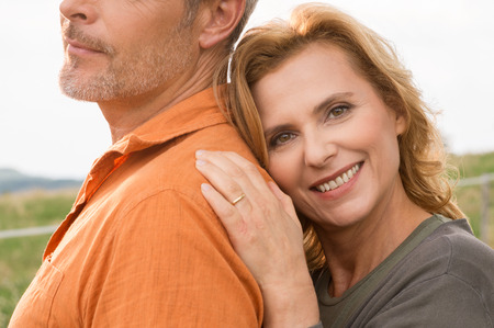 Photo pour Close up Of Happy Mature Woman With Her Husband - image libre de droit