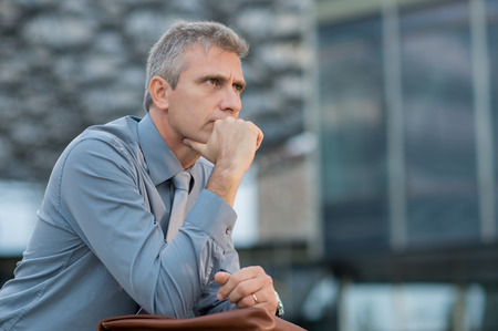 Photo for Closeup Of A Thoughtful Mature Businessman Outdoor - Royalty Free Image