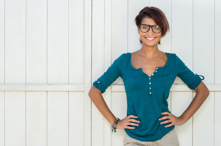 Photo for Portrait Of Happy Attractive Young Woman With Eyeglasses - Royalty Free Image