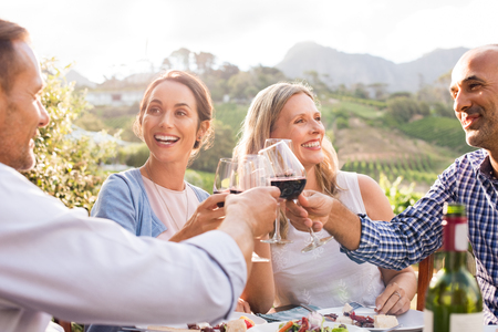 Photo pour Happy friends raising their glasses in a toast outdoor in a winery farm. Smiling mature woman and men enjoying a picnic together at park. Middle aged multiethnic couple having dinner together and toasting wine. - image libre de droit