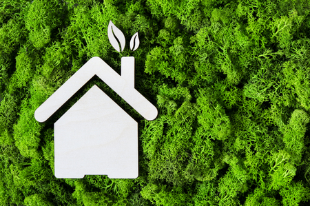 Foto de Top view of house wooden shape on green moss with copy space. High angle view of eco house and leaves. Environmental protection and sustainable architecture and energy concept. - Imagen libre de derechos