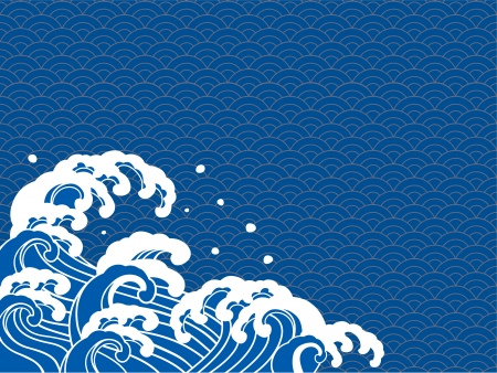 Ilustración de The illustration of the wave of a Japanese print  - Imagen libre de derechos