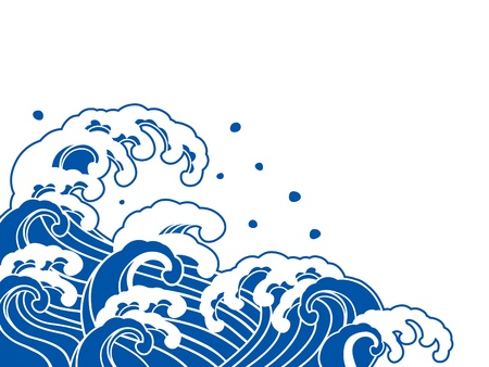 Illustration pour The wave of a Japanese painting  - image libre de droit
