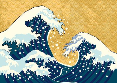 Ilustración de The wave of a Japanese painting - Imagen libre de derechos