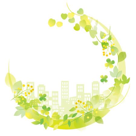 Ilustración de Beautiful city skyline of green - Imagen libre de derechos