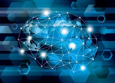 Illustration pour Illustration of a cyber IT brain - image libre de droit